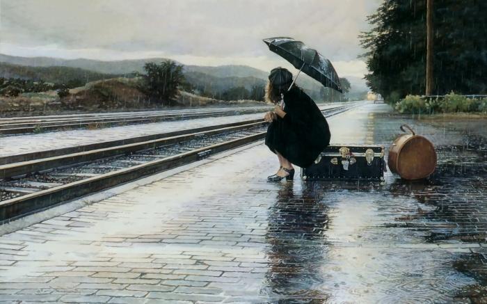 girl.rain.train